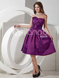 Lilac Taffeta Knee Length Strapless A-line Bridesmaid Dress - Milanoo.com