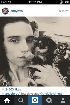 Andy biersack adopted a puppy. He is blind and his name is daredevil. HE'S ADORABLE