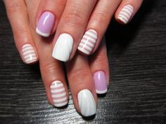 Beach nails, Exquisite nails, Manicure by summer dress, mix match nails, Nail art stripes, Nails by striped dress, Nails trends 2016, Shellac nails 2016