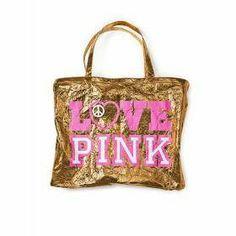 VICTORIA'S SECRET: Bolso pink dorado