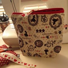One of my hand made Alice in wonderland bags all ready for its new home :) Alice In Wonderland Bag, Large Cosmetic Bag, Bee Design, My Tea, Weird And Wonderful, Cotton Bag, Heart Print, Toiletry Bag, My Bags