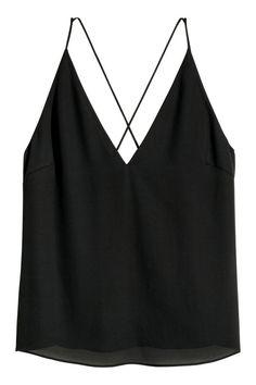 Topje met V-hals - Zwart - DAMES   H&M BE 2