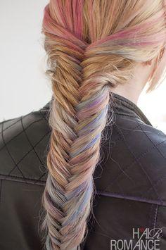 Hair Romance - Fishtail braid hairstyle how to with hair chalk