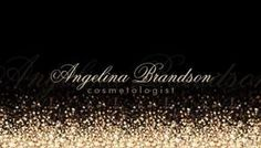 Glamorous Gold Dust Glitter on Chic Black Cosmetologist Business Cards http://www.zazzle.com/shimmering_gold_cosmetologist_damask_black_card_business_card-240348455820918725?rf=238835258815790439&tc=GBCEventsPin A glamorous black and gold cosmetologist business card with a gold dust glitter pattern spraying up from the bottom and fading into an elegant black background. Personalize by adding your name with a soft shadowed effect.