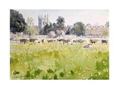 Giclee Print: Looking across Christ Church Meadows Art Print by Lucy Willis by Lucy Willis : Watercolor Sketch, Watercolor Landscape, Watercolor Paintings, Watercolours, Let's Make Art, Summer Painting, Poster Prints, Art Prints, Inspirational Wall Art