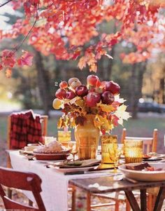 #Fall Dining Centerpiece #dinnerparty #apples #decor