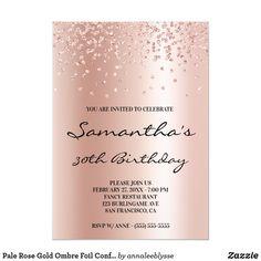 Pale Rose Gold Ombre Foil Confetti Glitter Invitation Glitter Invitations, Custom Invitations, Birthday Invitations, Rose Gold Ombre, Rose Gold Foil, Gold Confetti, Paper Design, White Envelopes, Gifts For Her