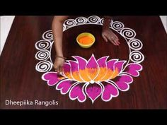 Top 5 New Year 2020 special Rangoli designs//Sankranthi muggulu//Pongal kolams//easy rangoli Rangoli is an artistic creation with rice flour that is made out. Rangoli Border Designs, Small Rangoli Design, Rangoli Designs Diwali, Rangoli Designs Images, Rangoli Designs With Dots, Rangoli With Dots, Beautiful Rangoli Designs, Simple Rangoli, Lotus Rangoli