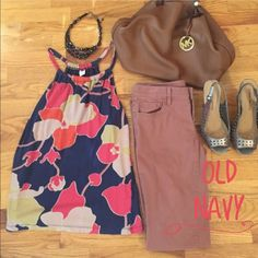 ⭐️HP Weekend Wear⭐️Halter Top⭐️ An adorable navy blue halter top with a large Pink, Tan and Gold flower design. Perfect for summer and in good condition  Old Navy Tops