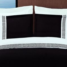 Modern Greek Key Pattern Black and White Embroidered Duvet Comforter Cover and Shams Set