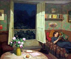 books0977:  Vilma Reading on a Sofa (1912). Frantisek Tavik Simon (Czech, 1877-1942). Oil on canvas. While an open window invites viewing into a pleasant night, a letter awaits on the table, the apple is but a step away, and the cat yearns for attention, Vilma is content to lie in comfort enjoying her book, one of many available.