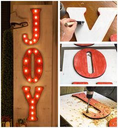 How to Make DIY Christmas Marquee Light Letter Signs - JOY