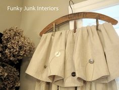 wooden hanger turned into a drapery rod.Funky Junk Interiors: Vintage hanger crop cloth curtains