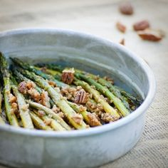 Maple Roasted Asparagus with Pecans