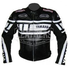 Stripped Yamaha Black Leather Motorbike Jacket