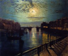 Whitby Harbor by Moonlight - John Atkinson Grimshaw  1862
