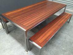 Resultado de imagen para mesa exterior acero madera