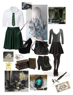 """Slytherin uniform&accessories"" by fynaelectra ❤ liked on Polyvore featuring Vogue, Wet Seal, Steffen Schraut, H&M, Alexander Wang, Forever 21, NOVICA and Versace"