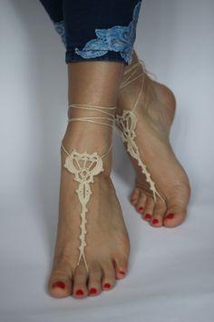 Beige Crochet Barefoot Sandals Beach Wedding Shoes by craftbyaga
