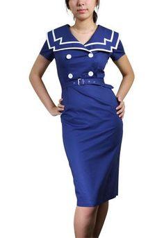 1950sPlusSizeDresses Vintage Sailor Pencil Dress $46.95 AT vintagedancer.com