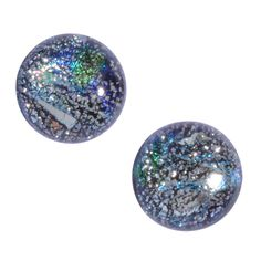 Galaxy Quest Nickel Free Post Earrings - silvery starry sparkle #dichroicglass #nickelfree #earrings #giftideas #giftsforher