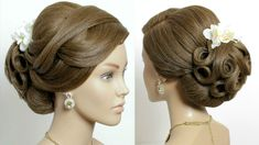 Bridal updo. Wedding prom hairstyles. Tutorial for long hair