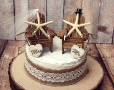 Beach-wedding cake topper-Adirondack by MorganTheCreator on Etsy