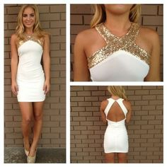 c0ffedb0cdfb Gold Sequin Cross Over Open Back Dress - White And also this website has  the cutest clothes Cute dress for rehearsal dinner or Bach party or some  wedding ...