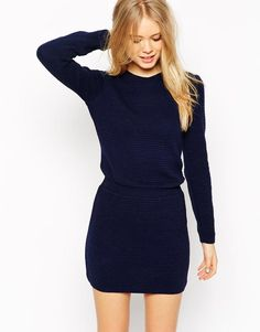 1366c5fc43790 ASOS TALL Sweater Dress With Elasticated Waistband - Shop for women s Dress  - navy Sweater