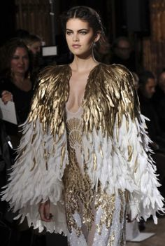 BIRDS: winged neck & arm pieces, head piece, high heels and a very classy sensual high fashion dress or full body suit, legs can be showing in dress