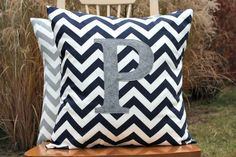 Navy+Blue+Chevron+Pillow+Cover+with+Heather+Grey+by+nest2impress,+$24.00