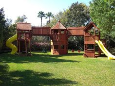 Custom Treehouse Playsets, Tree House Decks and Custom Treehouse Playsets, Tree House Decks and Redwood Playset Fort Design. See How to Build DIY Fort / Swing Set Plans and Re-Purpose Reclaimed Wood. Get Inspired to Build Wooden Porch Swings and More! Kids Backyard Playground, Backyard Playset, Backyard For Kids, Backyard Projects, Outdoor Projects, Playground Ideas, Outdoor Playset, Toddler Playground, Backyard Ideas