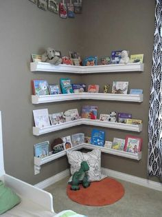 Book shelves made out of vinyl gutters.who would have thought? terpsgirl Book shelves made out of vinyl gutters.who would have thought? Book shelves made out of vinyl gutters.who would have thought? Gutter Bookshelf, Corner Bookshelves, Bookcases, Custom Bookshelves, Creative Bookshelves, Diy Bookshelves For Kids, Homemade Bookshelves, Homemade Shelves, Rain Gutter Shelves