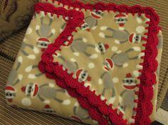 Sock Monkeys Brown Fleece Gray Monkeys Baby Blanket With Red Shell Crochet Edge - Small Size