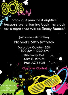 Totally awesome eighties themed invitation that is created with a bold black background and accented with bright paint splatters along with shutter shades and bangle braceletes straight out of the eighties!   Your guests will love this invitation and will be ready to blast into the past!   Includes a white envelope.