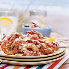 Lemon garlic shrimp skewers