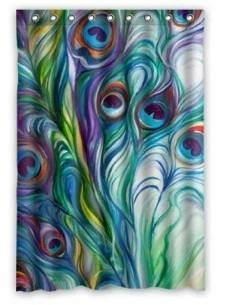 Peacock Feather Shower Curtain $20.00 www.allthingspeacock.com - Peacock Bathroom