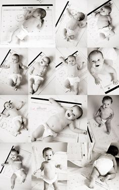 A wonderful idea for monthly pictures! This way you have a reference (the calendar) for how big the baby is getting.