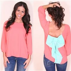 loving this bow detail trend! coral top with mint bow :)