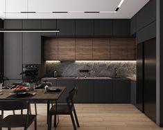 Modern Kitchen Interiors, Luxury Kitchen Design, Kitchen Room Design, Contemporary Kitchen Design, Kitchen Cabinet Design, Kitchen Layout, Home Decor Kitchen, Interior Design Kitchen, Home Kitchens