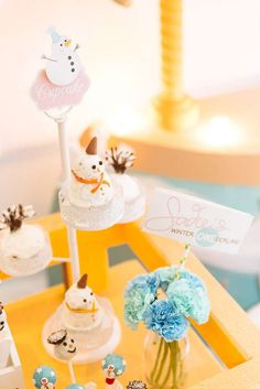 Fun treats at a Winter Wonderland birthday party! See more party planning ideas at CatchMyParty.com!