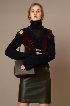 Alexander McQueen | Pre-Fall 2015 | 08 Green/navy/red long sleeve sweater and green leather mini skirt