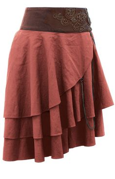Short Tan Layered Steampunk Skirt   Steampunk Skirts   Steampunk Clothing