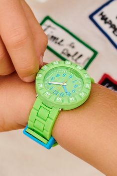 Neon Green, Green Colors, Swiss Made Watches, Telling Time, Swatch, Plastic, Bright, Colour, Easy
