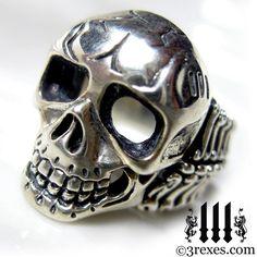 Skull Biker Ring Mens Silver Bone Band Designer by 3RexesJewelry