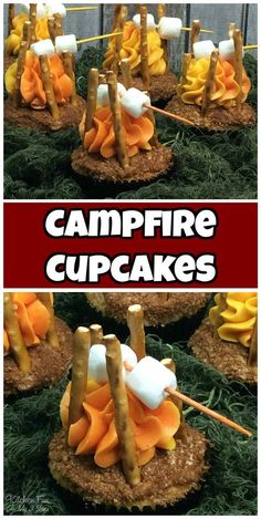 These adorable Campfire Cupcakes will be a huge hit and they are so easy to make! Such a fun idea for a Camping themed birthday party! -- Continue viewing to know Best Dessert Recipes, Cupcake Recipes, Fun Desserts, Cupcake Cakes, Weight Watcher Desserts, Camping Parties, Camping Theme, Van Camping, Camping Birthday Cake