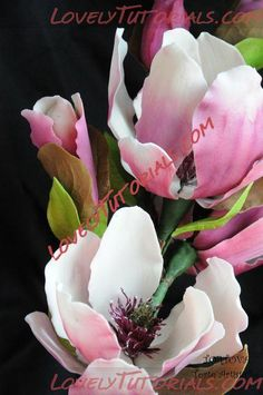 This is an interesting tutorial for the Saucer Magnolia. However I think you would have to have some experience working with gumpaste flowers to quite understand what she is doing in each step. Sugar Paste Flowers, Icing Flowers, Fondant Flowers, Edible Flowers, Paper Flowers, Fondant Bow, Fondant Cakes, Fondant Flower Tutorial, Magnolia Flower