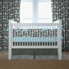 Gray Zoology Crib Bedding | Gray and Blue Animals Crib Bedding | Carousel Designs