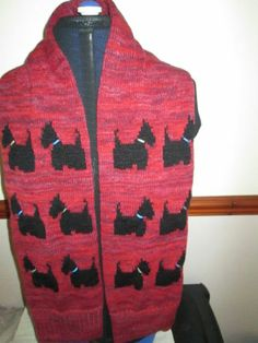 Knitted SCARF with BLACK SCOTTISH TERRIER DOGS, HAND MADE, | eBay