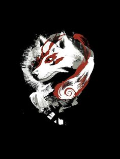 'Wolf' Graphic T-Shirt by jimiyo Japanese Artwork, Japanese Tattoo Art, Fantasy Wolf, Dark Fantasy Art, Anime Tattoos, Wolf Tattoos, Wolf Tattoo Sleeve, Sleeve Tattoos, Kitsune Mask